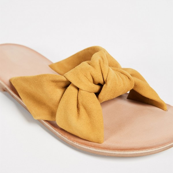 Mustard Suede Women's Slide Sandals Open Toe Summer Flat Bow Sandals image 3