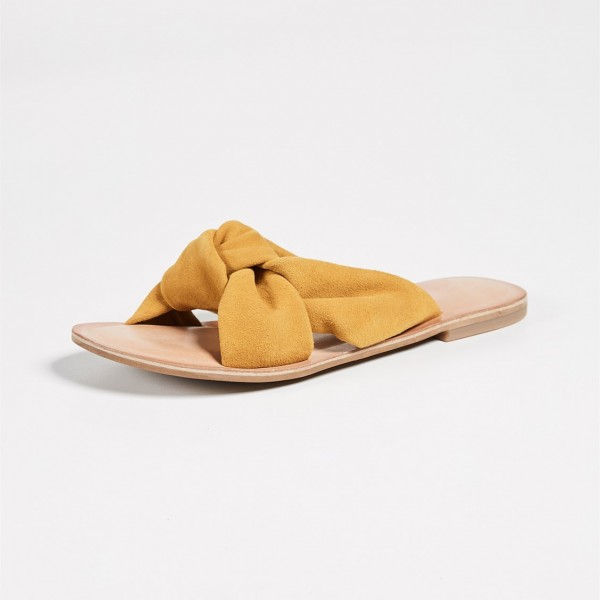 Mustard Suede Women's Slide Sandals Open Toe Summer Flat Bow Sandals image 2