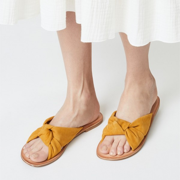Mustard Suede Women's Slide Sandals Open Toe Summer Flat Bow Sandals image 1