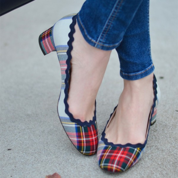 Muticolor Plaid Curvy Chunky Heels Pumps image 1