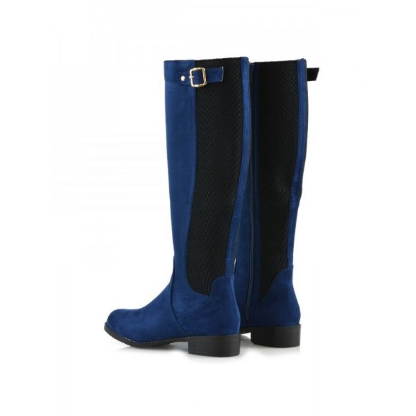 Navy and Black Contrast long Boots Round Toe Flat Knee-high Boots image 2