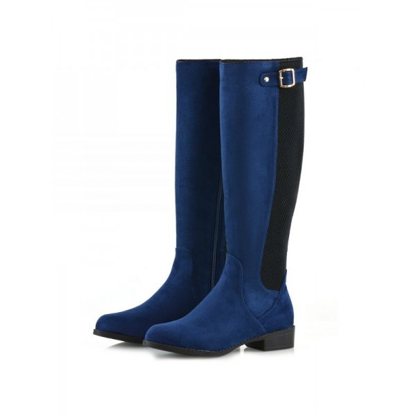 Navy and Black Contrast long Boots Round Toe Flat Knee-high Boots image 1