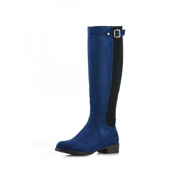 Navy and Black Contrast long Boots Round Toe Flat Knee-high Boots image 4