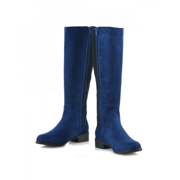 Navy and Black Contrast long Boots Round Toe Flat Knee-high Boots image 5