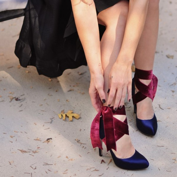 Navy And Burgundy Strappy Heels Satin Round Toe Pumps  image 2