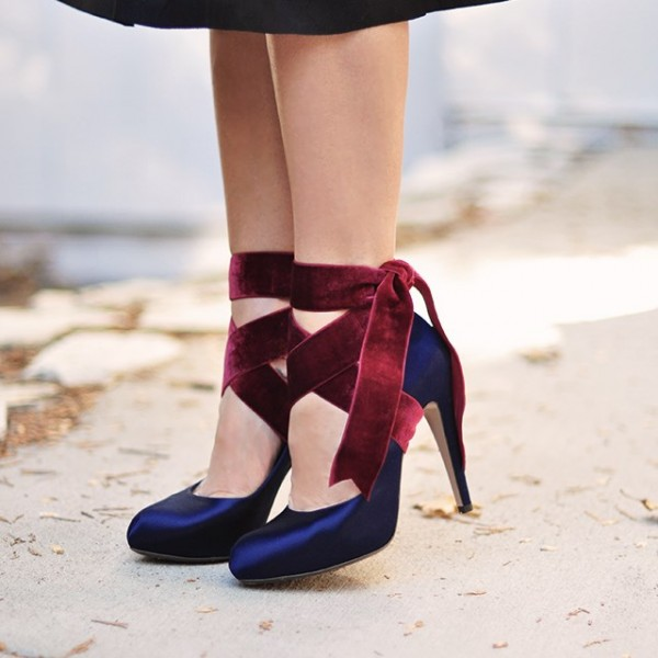 Navy And Burgundy Strappy Heels Satin Round Toe Pumps  image 1