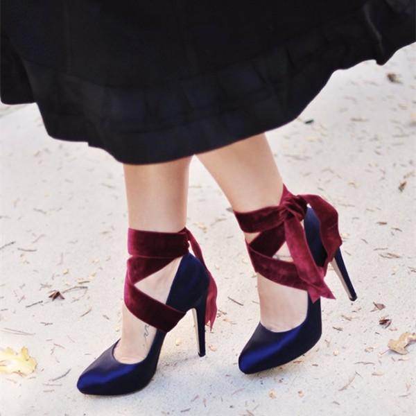 Navy And Burgundy Strappy Heels Satin Round Toe Pumps  image 3