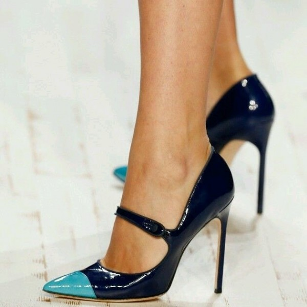 Navy and Cyan Pointy Toe Mary Jane Pumps Stiletto Heel Shoes image 1