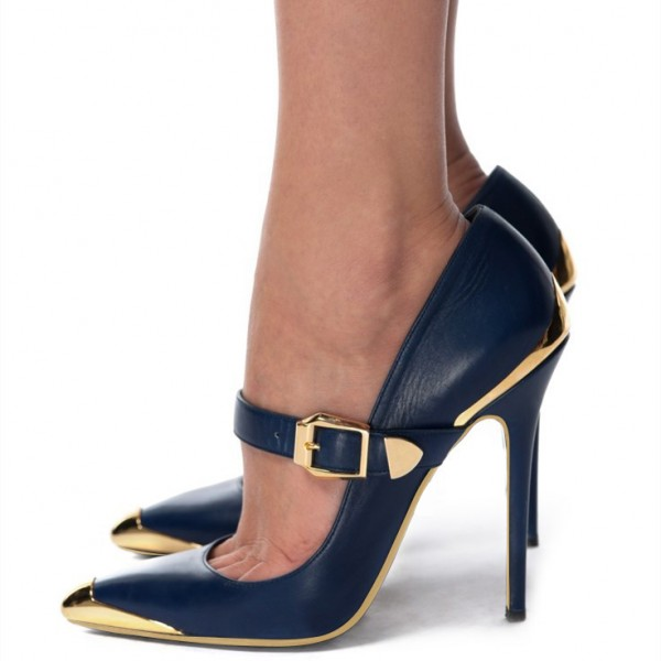 9ab1cff56f Navy and Gold Heels Metal Stiletto Heels Vintage Mary Jane Pumps image ...