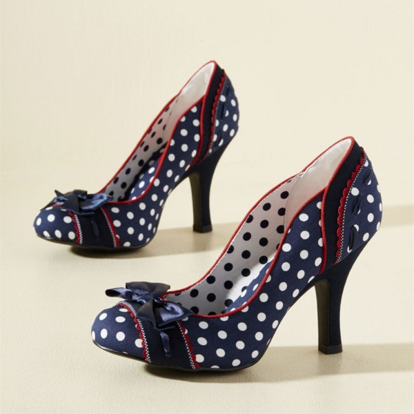 Navy and White Polka Dots Vintage Shoes Retro Heels with Bow image 3