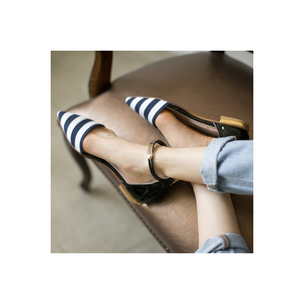 Women's Navy and White Stripes Ankle Strap Comfortable Flats image 1