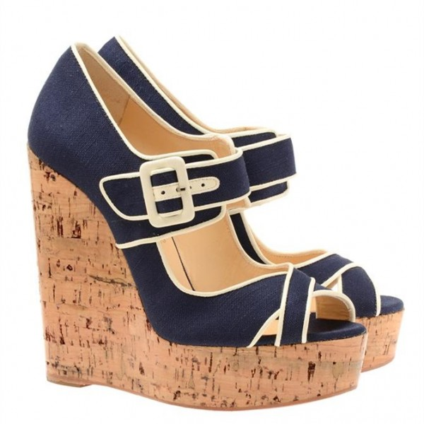 Navy Denim Heels Cork Wedges Peep Toe Platform Pumps image 4