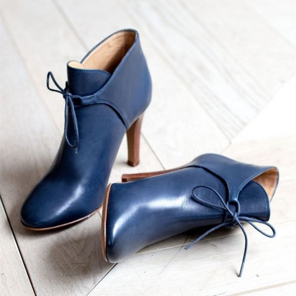 Navy Blue Boots Round Toe Lace up Ankle Booties image 1