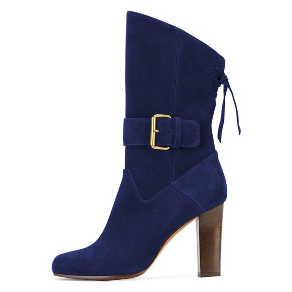 Navy Buckle Chunky Heel Boots Suede Round Toe Comfortable Booties image 3