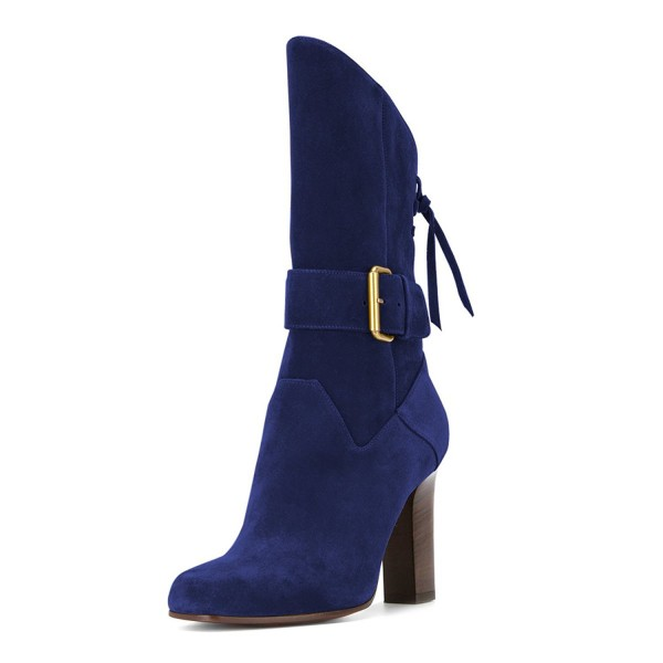 Navy Buckle Chunky Heel Boots Suede Round Toe Comfortable Booties image 1
