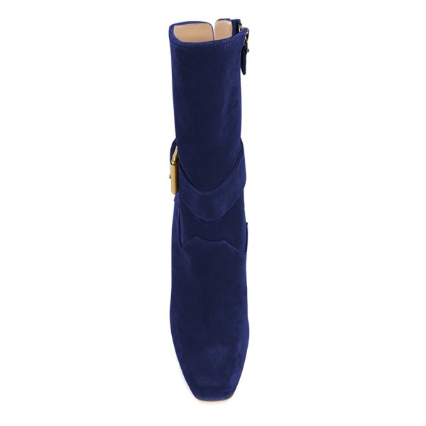 Navy Buckle Chunky Heel Boots Suede Round Toe Comfortable Booties image 2