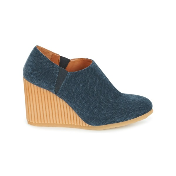 Denim Wedge Booties Round Toe Short Ankle Boots US Size 3-15 image 2