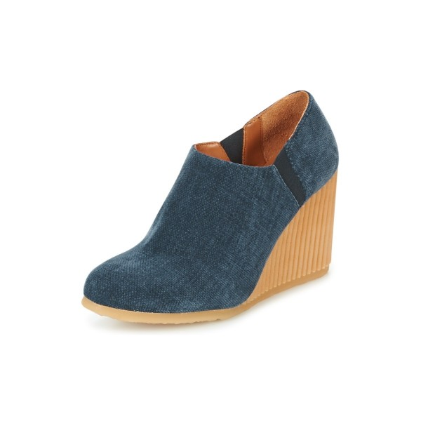7a53726b1301 Denim Wedge Booties Round Toe Short Ankle Boots US Size 3-15 image 1 ...