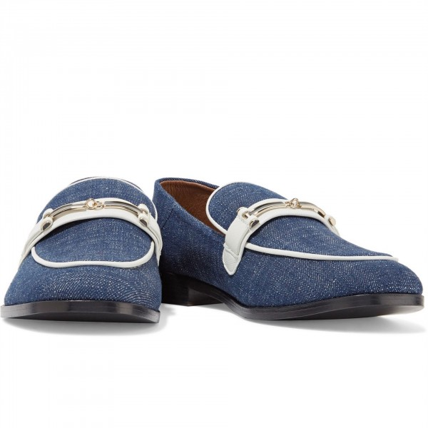 Navy Comfortable Flats Denim Loafers for Women image 2