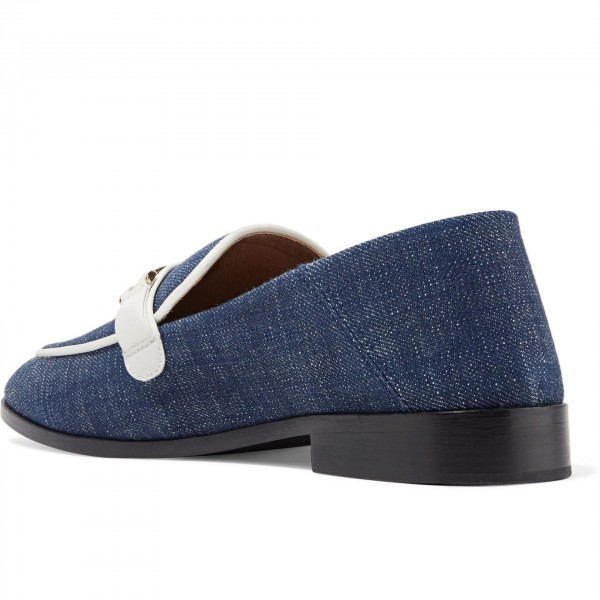 Navy Comfortable Flats Denim Loafers for Women image 3