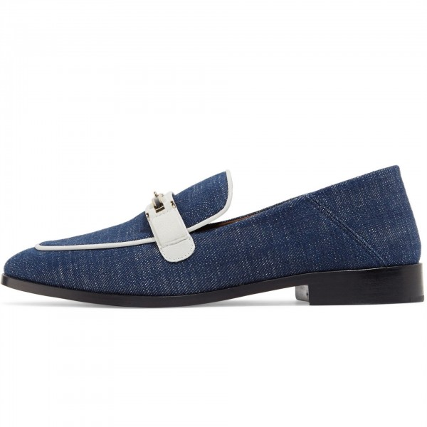 Navy Comfortable Flats Denim Loafers for Women image 1