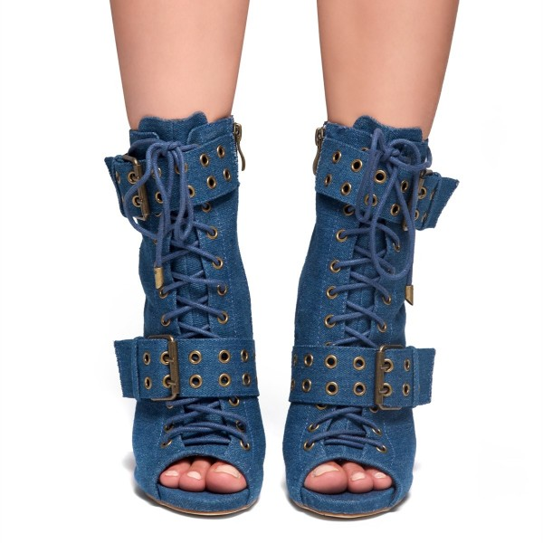 Blue Denim Boots Peep Toe Lace up Stiletto Heel Fashion Ankle Booties image 2