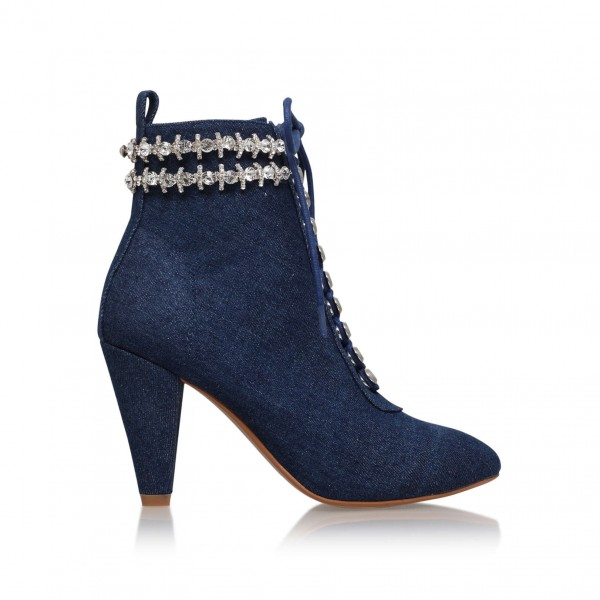 Women's Navy Jeans Rhinestone Lace Up Ankle Denim Boots image 2