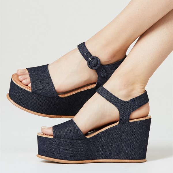 f023fbe06 Denim Wedge Heels Open Toe Platform Sandals US Size 3-15 for School ...