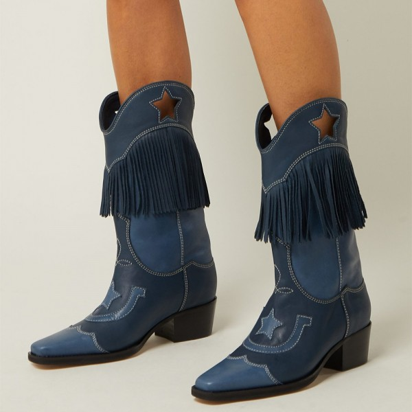 Navy Embroider Fringe Cowgirl Boots Block Heel Mid Calf Boots image 1