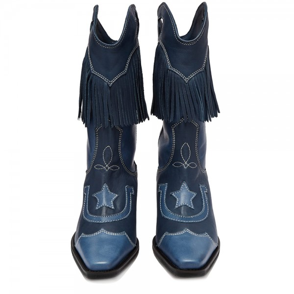 Navy Embroider Fringe Cowgirl Boots Block Heel Mid Calf Boots image 4