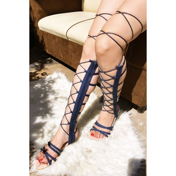 Navy Gladiator Sandals Strappy Flats Comfortable Shoes image 1