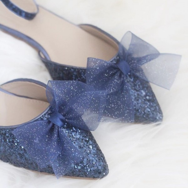 Navy Glitter Mesh Bow Ankle Strap Comfortable Flats image 3