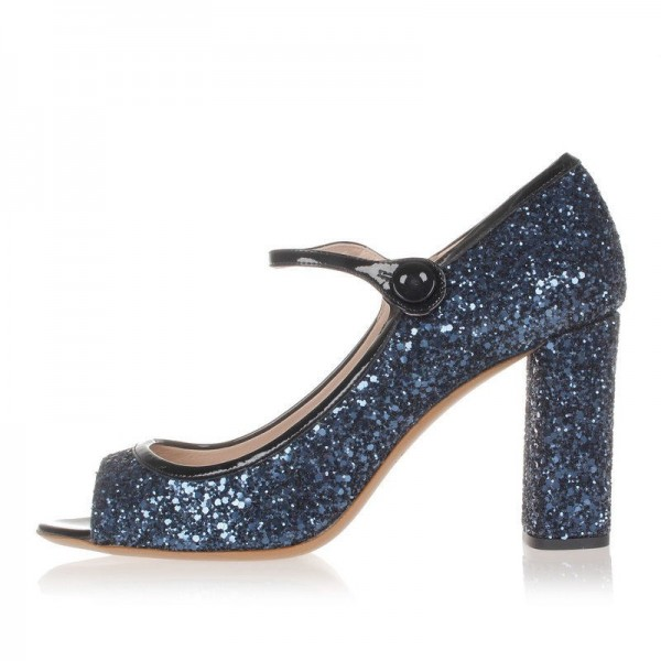 cc4701c9 Navy Glitter Shoes Chunky Heel Mary Jane Pumps for Date, Anniversary ...