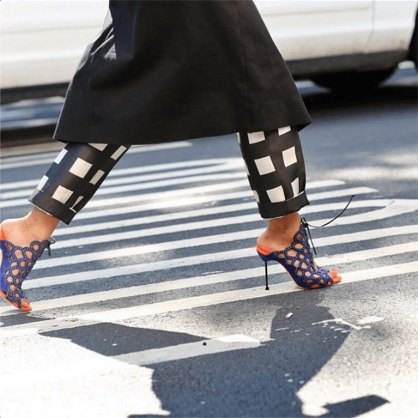 Navy Lace up Sandals Open Toe Caged Stiletto Heels  image 3