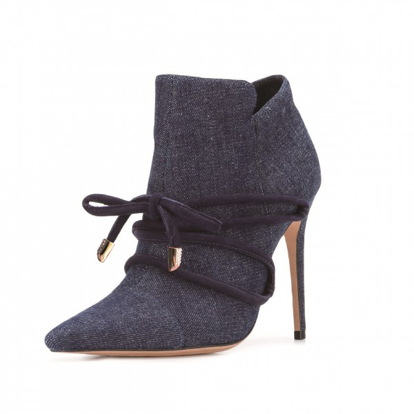 Navy Jean Style Strappy Lace Up Stiletto Heel Ankle Booties image 1