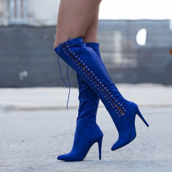 Navy Knee High Lace up Boots Suede Stiletto Heels for Women image 1