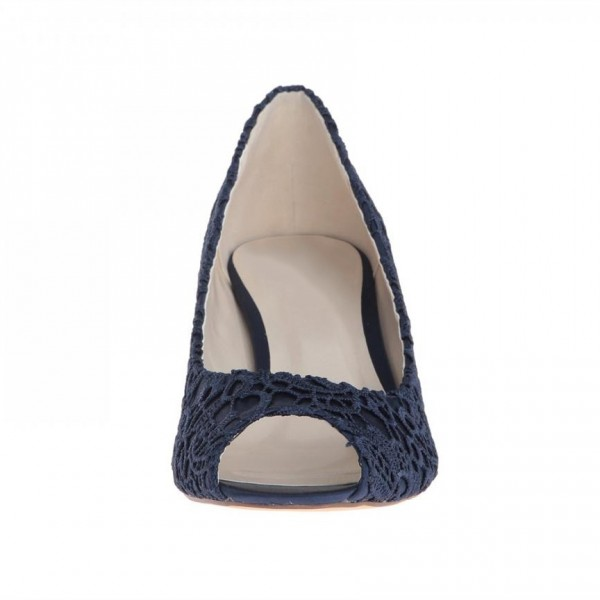 Navy Lace Heels Peep Toe Kitten Heel Pumps for Bridesmaid image 5