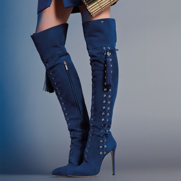f38161fdf85 Navy Lace up Long Boots Tassels Stiletto Heel Over-the-Knee Boots image 1  ...