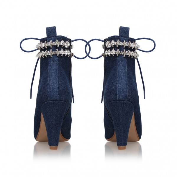 Women's Navy Jeans Rhinestone Lace Up Ankle Denim Boots image 5