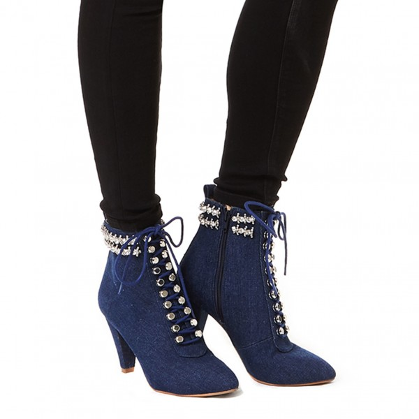 Women's Navy Jeans Rhinestone Lace Up Ankle Denim Boots image 4