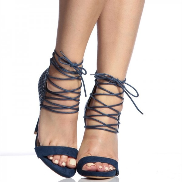 Navy Python Lace up Sandals Open Toe Stiletto Heels for Women image 2
