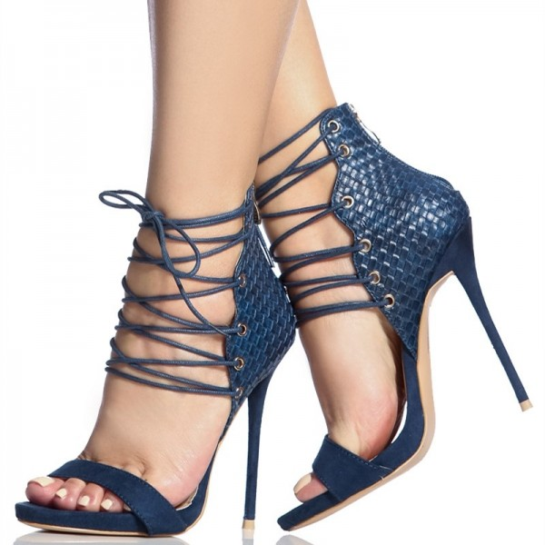 Navy Python Lace up Sandals Open Toe Stiletto Heels for Women image 1