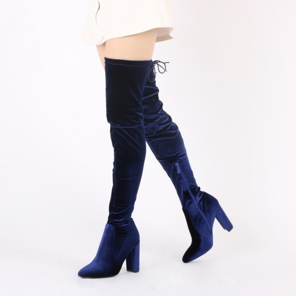 Navy Long Boots Chunky Heel Thigh-high Boots for Women image 1