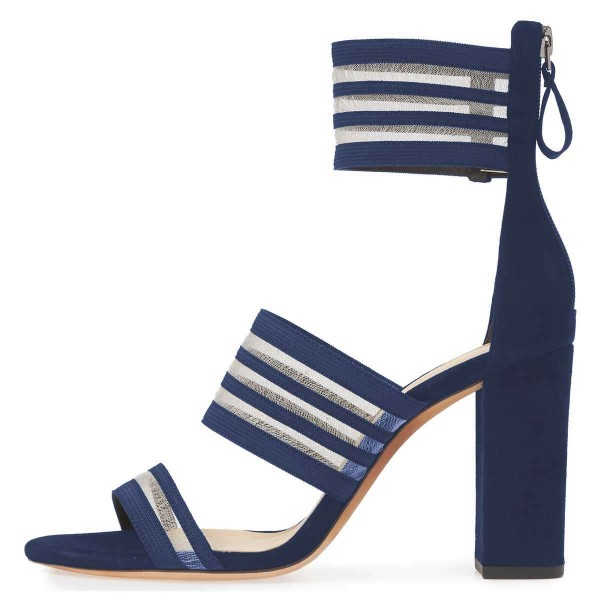 Navy Mesh Ankle Strap Chunky Heel Sandals  image 3