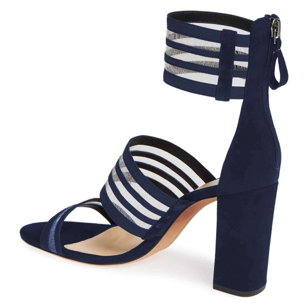 Navy Mesh Ankle Strap Chunky Heel Sandals  image 4