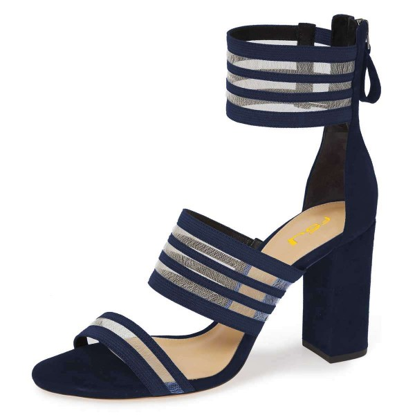 Navy Mesh Ankle Strap Chunky Heel Sandals  image 1