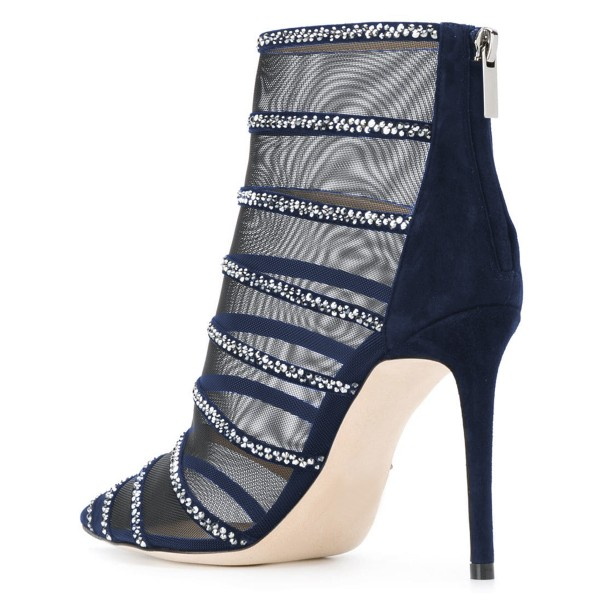 Navy Nets Rhinestones Pointed Toe Stiletto Boots Ankle Boots image 4