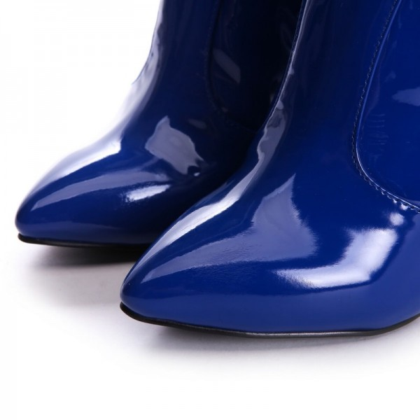 Navy Patent Leather High Heel Boots Knee-high Boots image 3