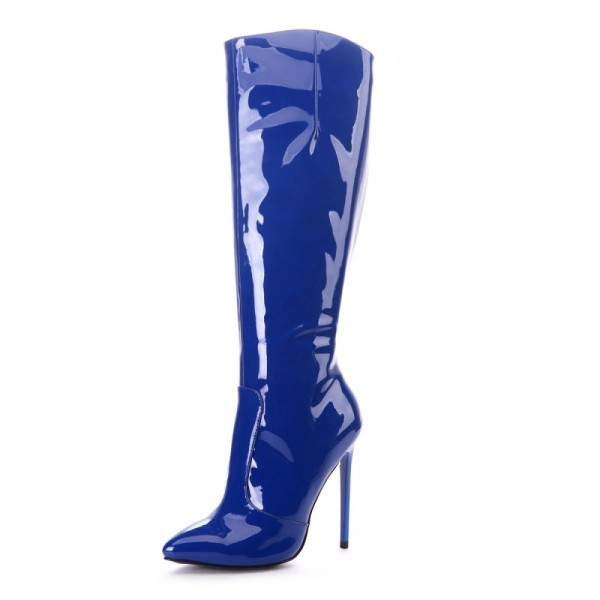 Navy Patent Leather High Heel Boots Knee-high Boots image 2