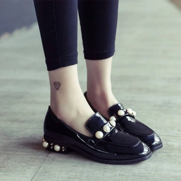 Navy Patent Leather Square Toe Low Heel Pearls Loafers for Women image 3
